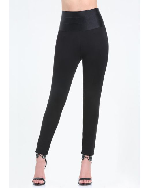 Bebe - Black Satiny High Rise Leggings - Lyst