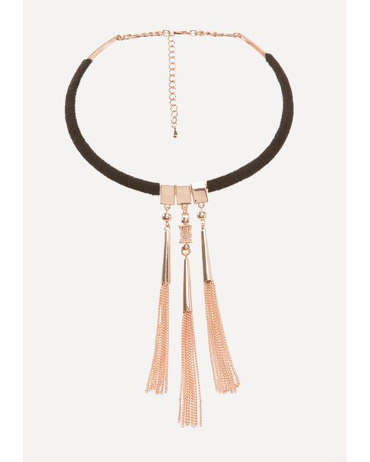 Bebe | Metallic Tassel Collar Necklace | Lyst
