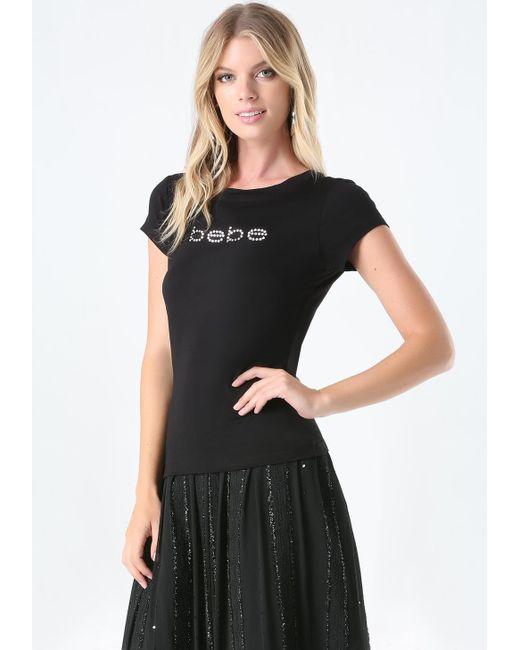 Bebe | Black Logo Rhinestone Tee | Lyst