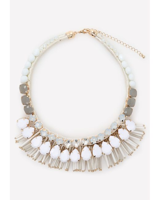 bebe bead necklace in white white gold lyst