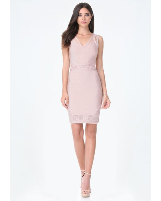Bebe alana banded lace dress in pink lyst for Bebe dresses wedding guest