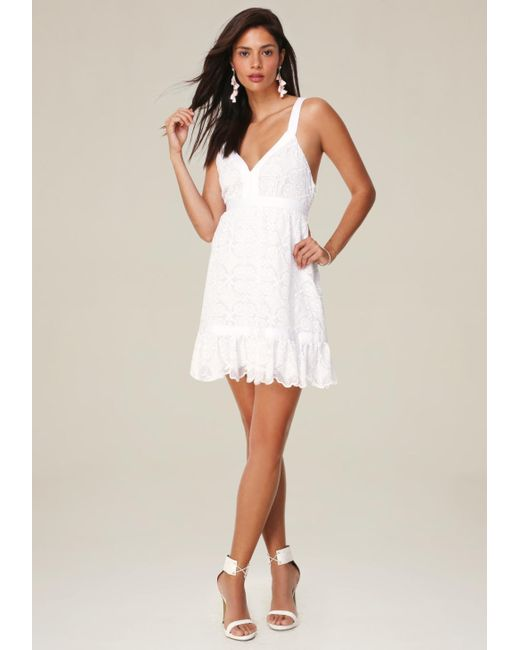 Bebe | White Embroidered Cotton Dress | Lyst