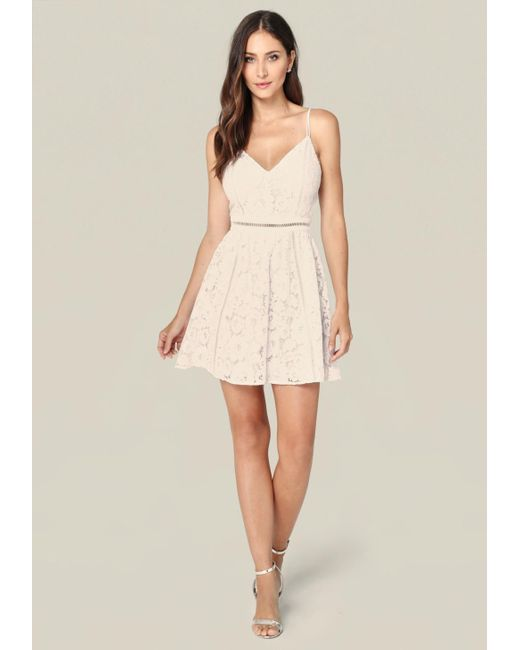 Bebe | White Lace Fit & Flare Dress | Lyst