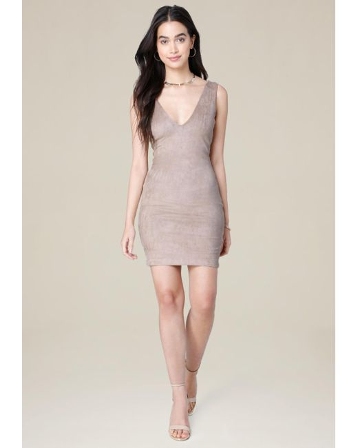 Bebe | Multicolor Faux Suede V-neck Dress | Lyst