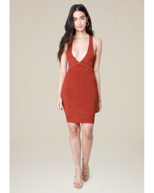 Bebe | Red Ribbed Crossback Dress | Lyst
