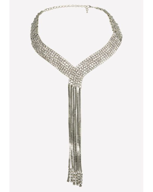 Bebe - Metallic Silver & Crystal Necklace - Lyst