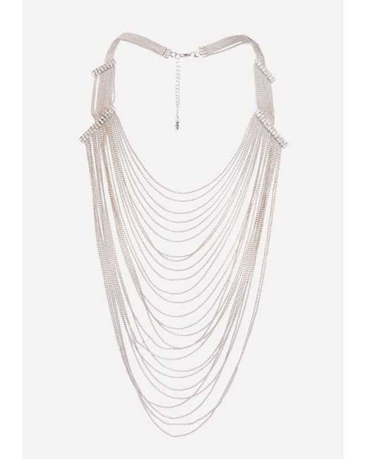 Bebe - Metallic Draped Shot Bead Necklace - Lyst
