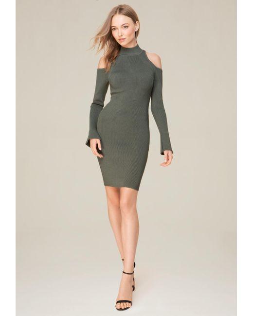 Bebe | Multicolor Cold Shoulder Sweater Dress | Lyst
