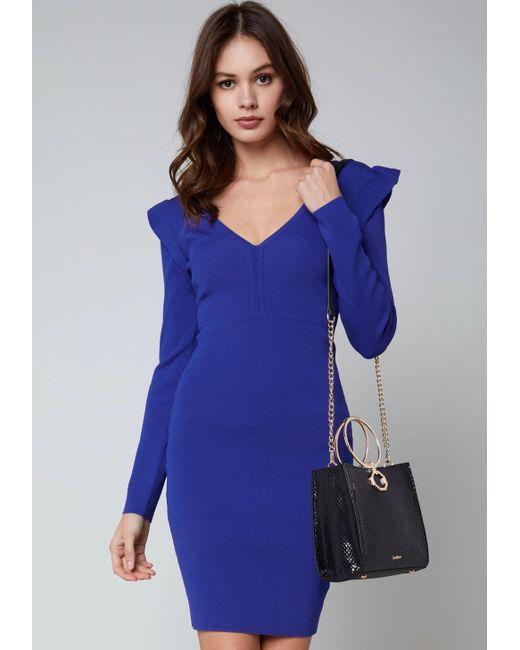 Bebe - Blue Ruffle Detail V-neck Dress - Lyst