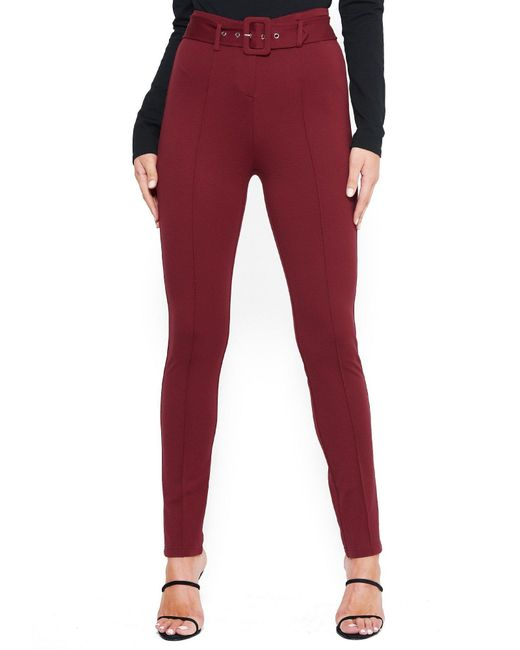 Bebe Red Belted Straight Leg Trousers