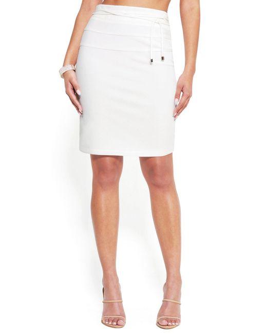 Bebe White Tie Waist Pencil Skirt