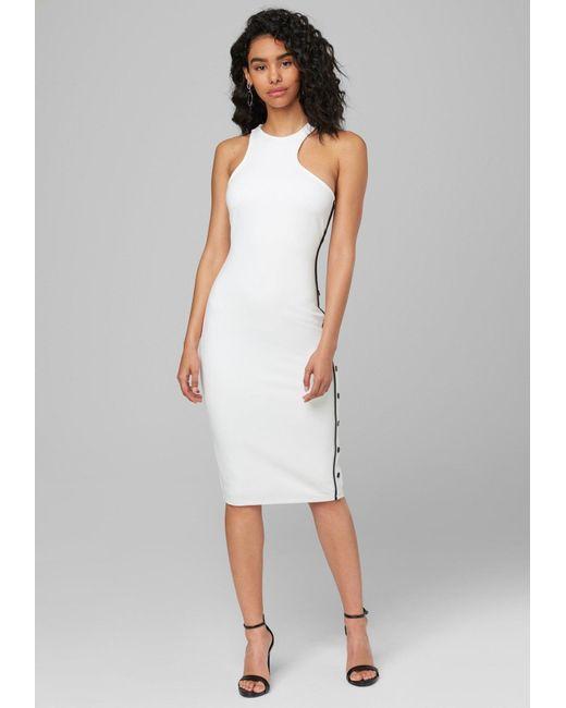 Bebe White Dinah Snap Detail Midi Dress