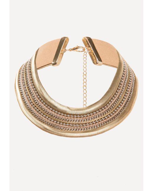 Bebe | Metallic Metal Statement Necklace | Lyst