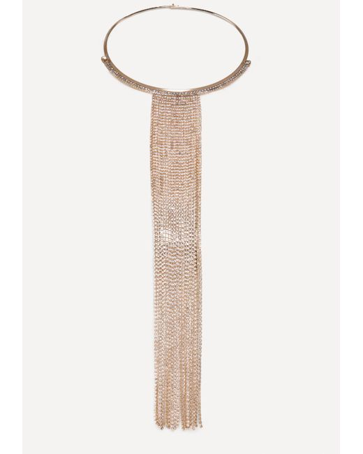 Bebe - Metallic Crystal Fringe Necklace - Lyst