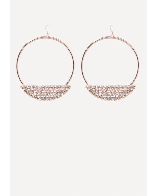 Bebe - Metallic Crystal Trim Hoop Earrings - Lyst