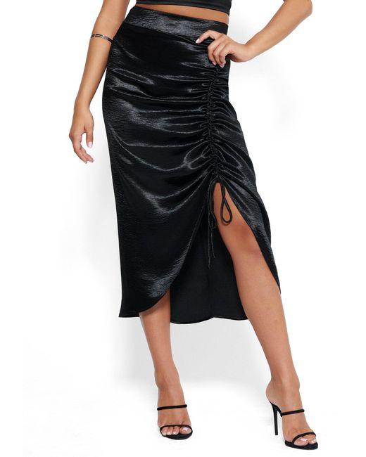 Bebe Black Satin Ruched Midi Skirt