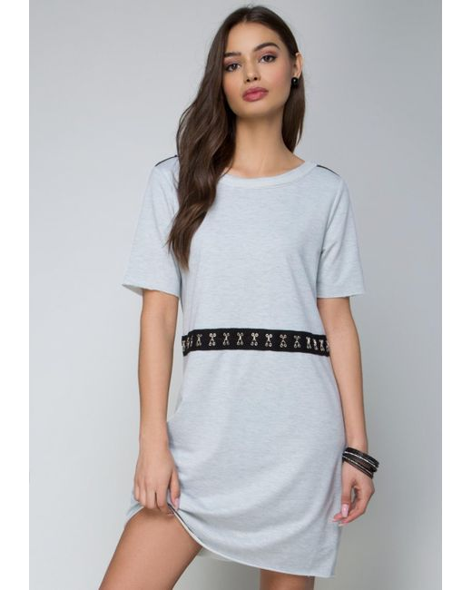 Bebe | Gray Terry Hook-and-eye Dress | Lyst