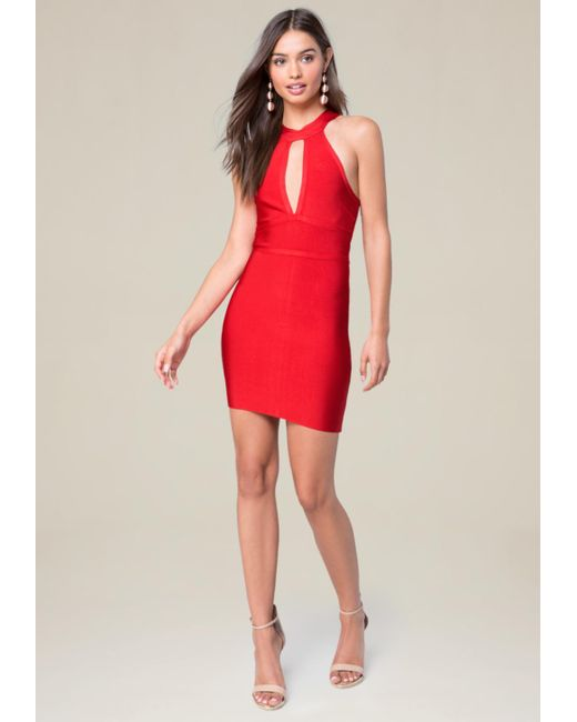 Bebe   Red Cutout Plunge Neck Dress   Lyst