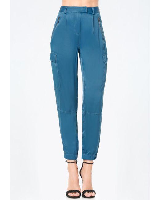 Bebe | Blue Paragon Satin Cargo Pants | Lyst