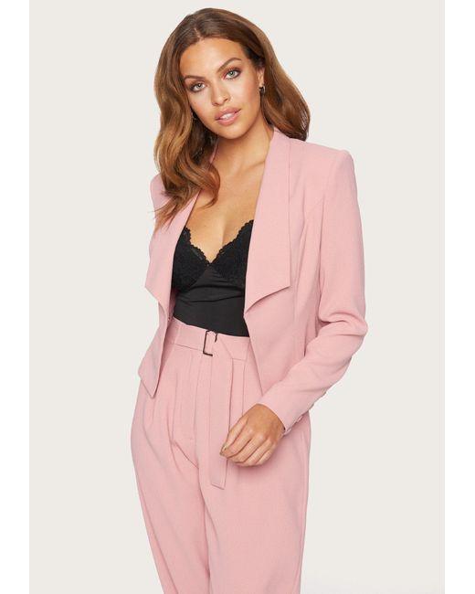 Bebe Pink Demi Satin Crepe Blazer