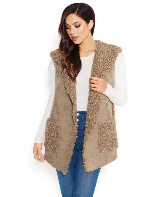 Bebe Multicolor Sherpa Hoodie Vest