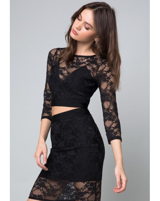 Bebe - Black Pia Lace Crop Top - Lyst