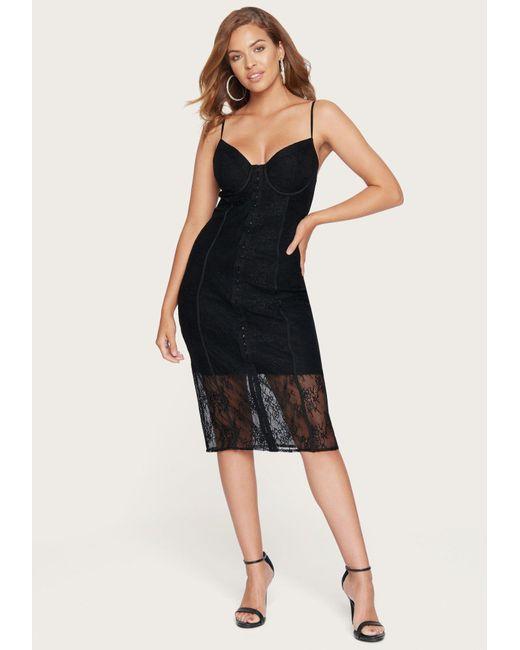 Bebe Black Lace Bustier Midi Dress
