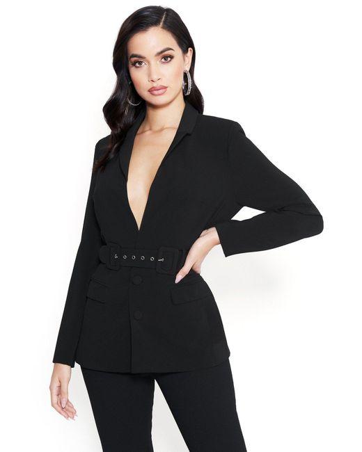 Bebe Black Sarina Belted Blazer