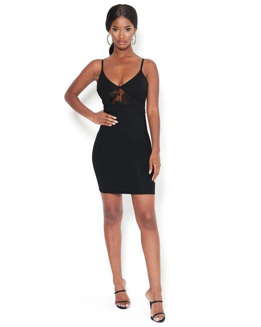 Bebe Black Knit Lace Mini Dress