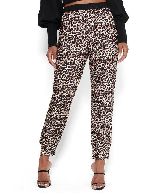 Bebe Black Leopard Crepe Jogger Pants