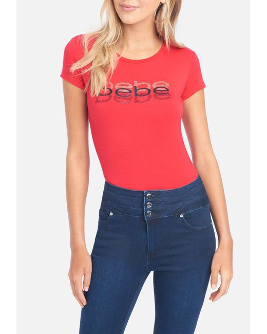 Bebe Red Rhinestone Glitter Tee Shirt