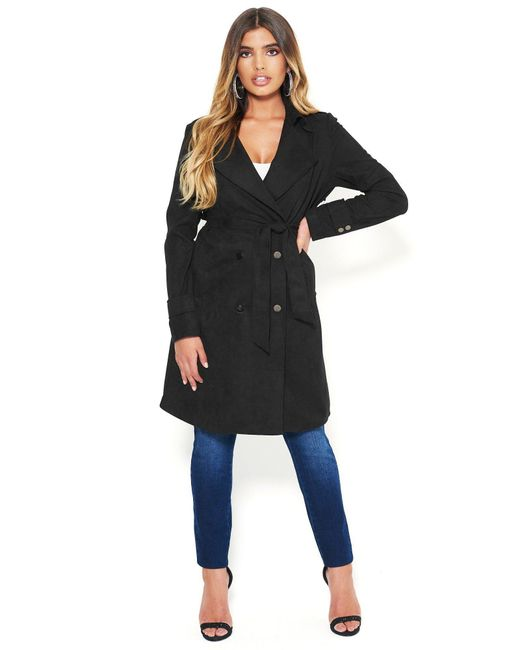 Bebe Black Faux Suede Trench Coat
