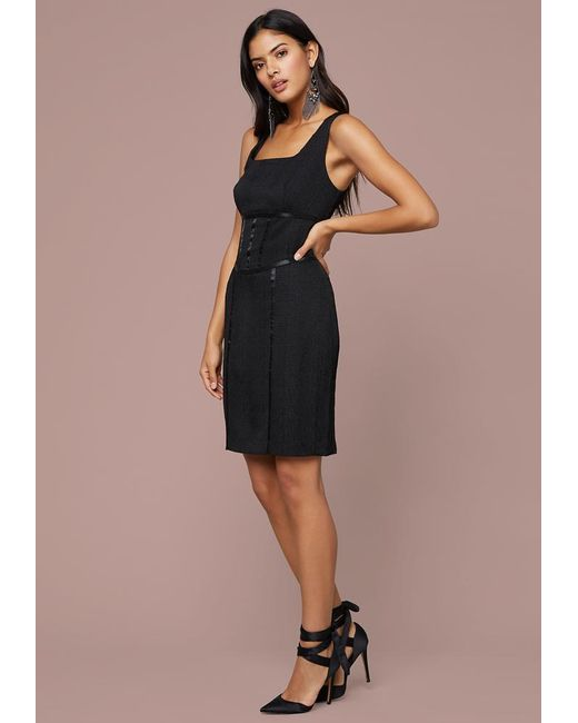 Bebe Black Aimee Snake Jacquard Dress