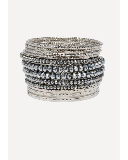 Bebe - Metallic Bead & Metal Bangle Set - Lyst