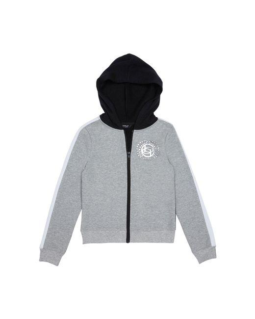 Bebe Gray Girls Foil Logo Fleece Jacket