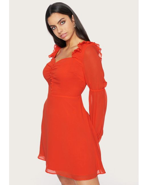 Bebe Red Button Front Dress