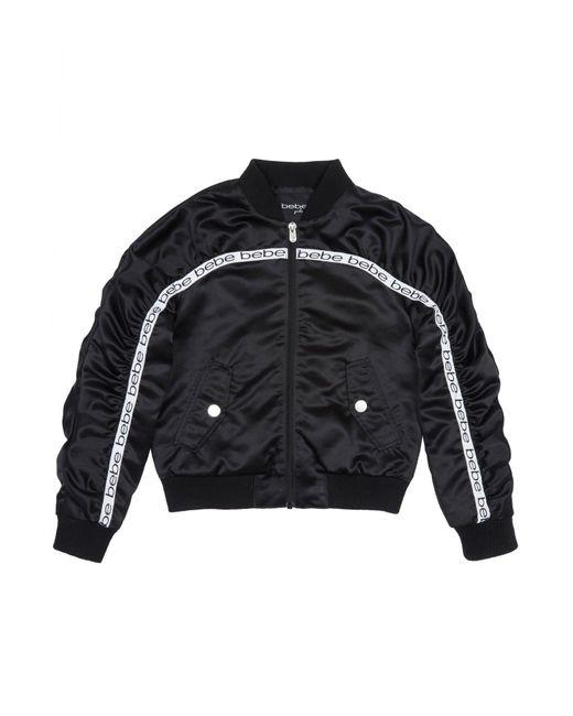 Bebe Black Girls Satin Bomber Jacket
