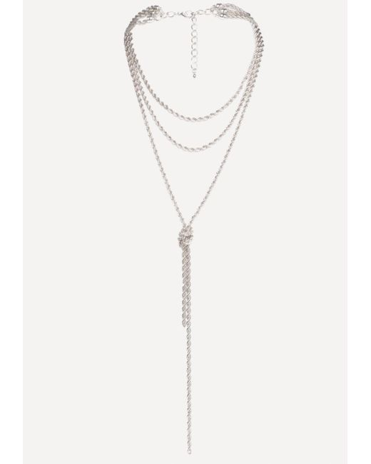 Bebe - Metallic Twisted Chain Necklace - Lyst