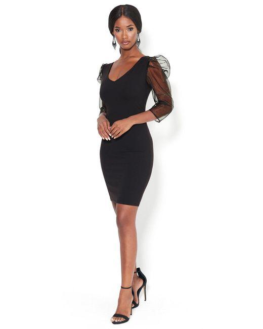Bebe Black Puff Sleeve Bodycon Dress
