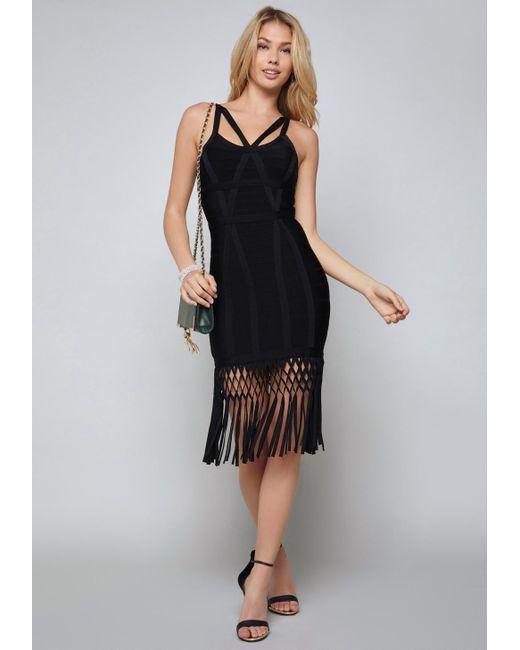 Bebe - Black Fringe Bandage Dress - Lyst
