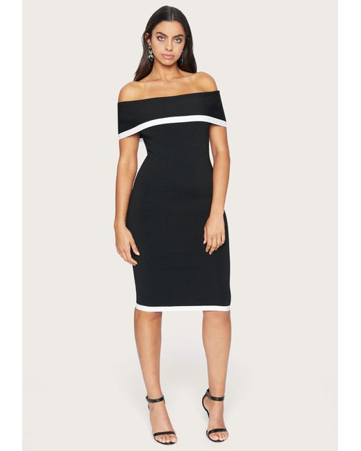 Bebe Black Off Shoulder Sweater Dress