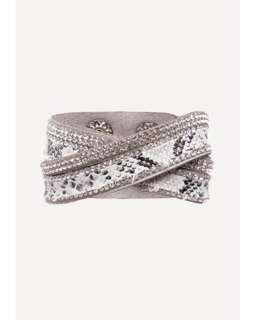 Bebe   Gray Faux Python Wrap Bracelet   Lyst