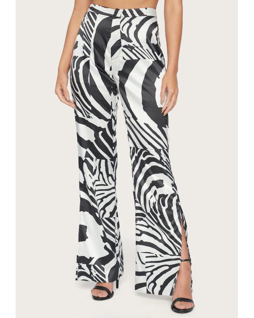 Bebe Black Print Slit Wide Leg Pants