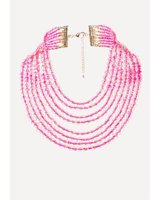 Bebe   Pink Beaded Waterfall Necklace   Lyst