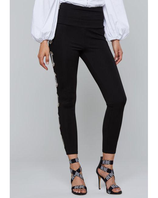 Bebe - Black Laced Chain Leggings - Lyst