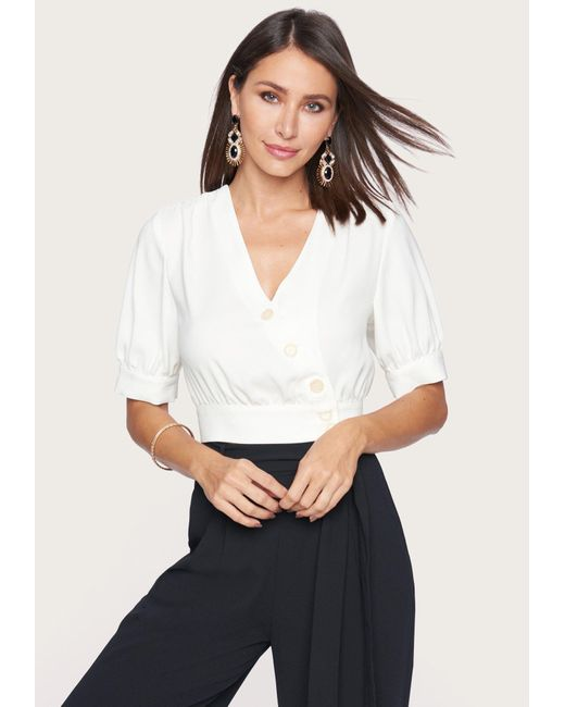 Bebe White Puff Sleeve Button Top
