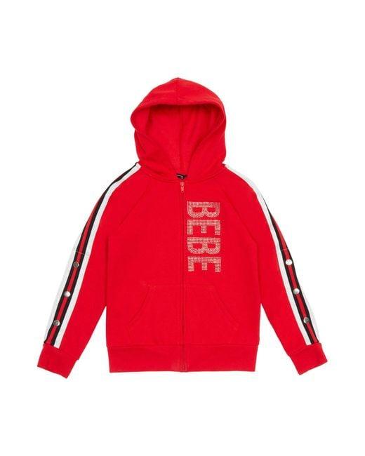 Bebe Red Girls Sparkly Logo Fleece Jacket
