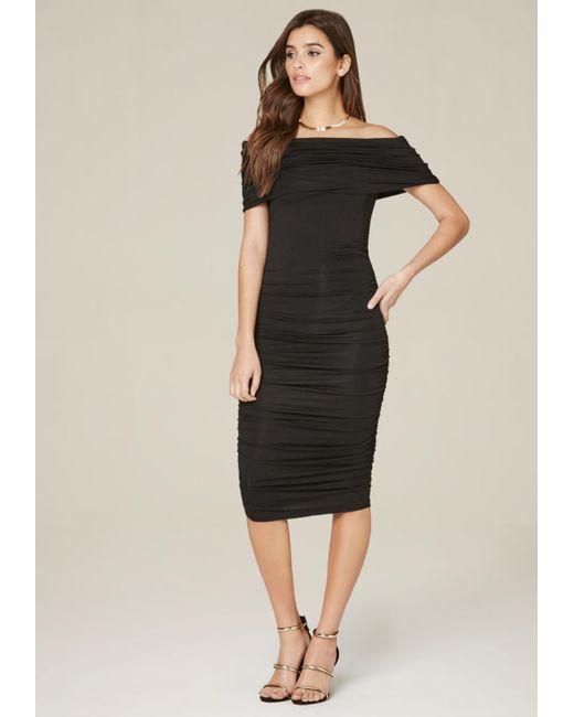 Bebe   Black Draped Off Shoulder Dress   Lyst