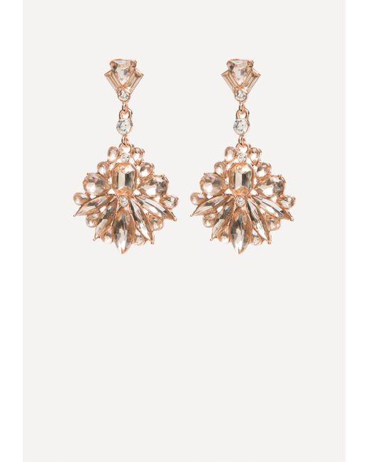 Bebe   Metallic Stone Drop Earrings   Lyst