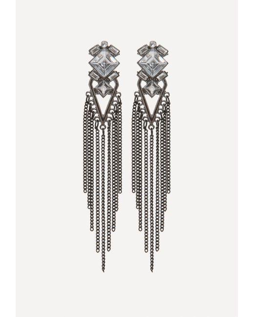 Bebe | Black Fringe Statement Earrings | Lyst